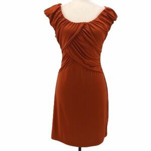 Allen-B-Womens-Bodycon-Dress-Orange-Pleated-Knee-Length-Scoop-Neck-Cap-Sleeve-XS