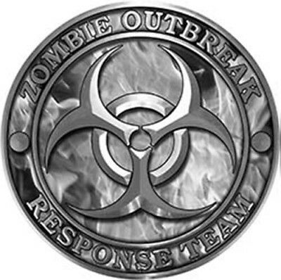 """Zombie Response Team Zombie Outbreak Decal with Red Skulls 6/"""" REFLECTIVE 01"""