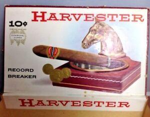 Antique-Vintage-Harvester-Record-Breaker-Cigar-Box-10-cents-Horse-US-Blue-Stamp