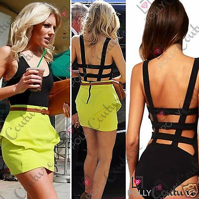 Womens Black Cut Out Backless Summer Sleeveless Fitted Vest Top Ladies Bodysuit