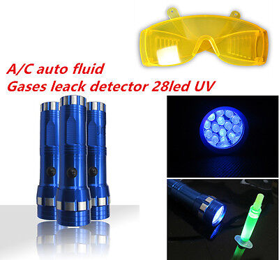UV Leak Detector A/C Automotive Fluid & gas 14LED Long Wave Black Light NEW Sets