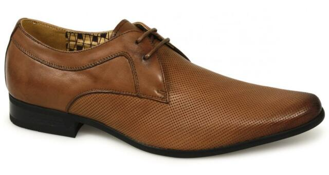 b3fe7d9f9fa Front RIPLEY Mens Leather Perforated Lace-Up Formal Smart Office Dress  Shoes Tan