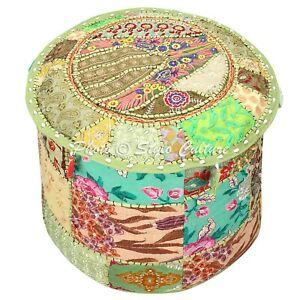 Ethnic-Round-Pouf-Cover-Patchwork-Embroidered-Bohemian-Pouffe-Bohemian-22-034-Green