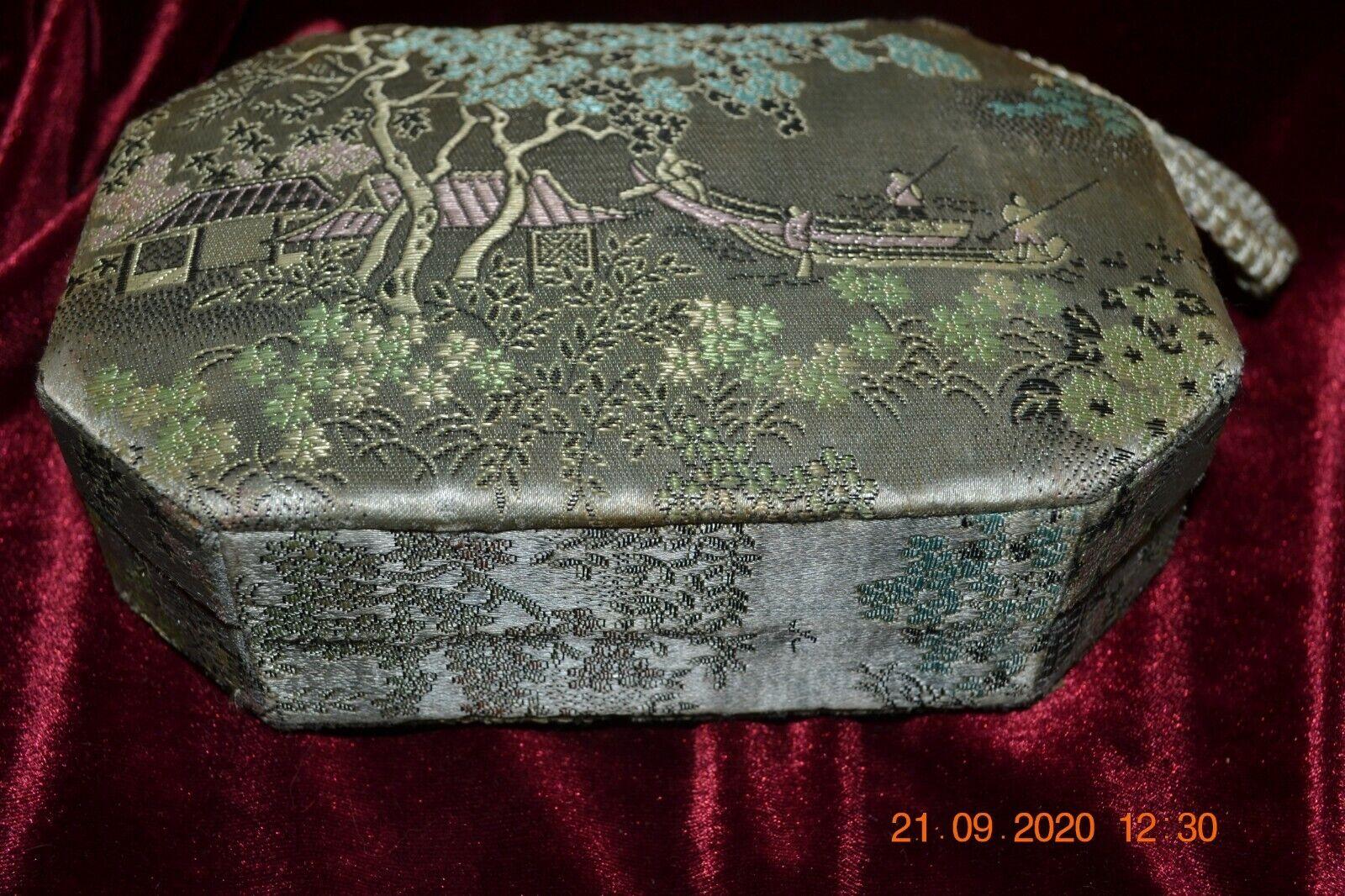 Vintage Oriental Silk Box Purse made in Hong Kong… - image 3