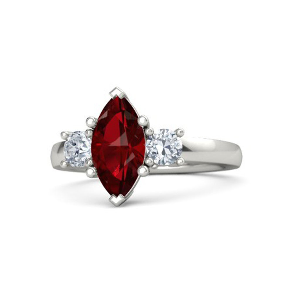 14K White gold Valentine Ring 2.00Ct Natural Gemstone Ruby Size 6.5 8 9  7