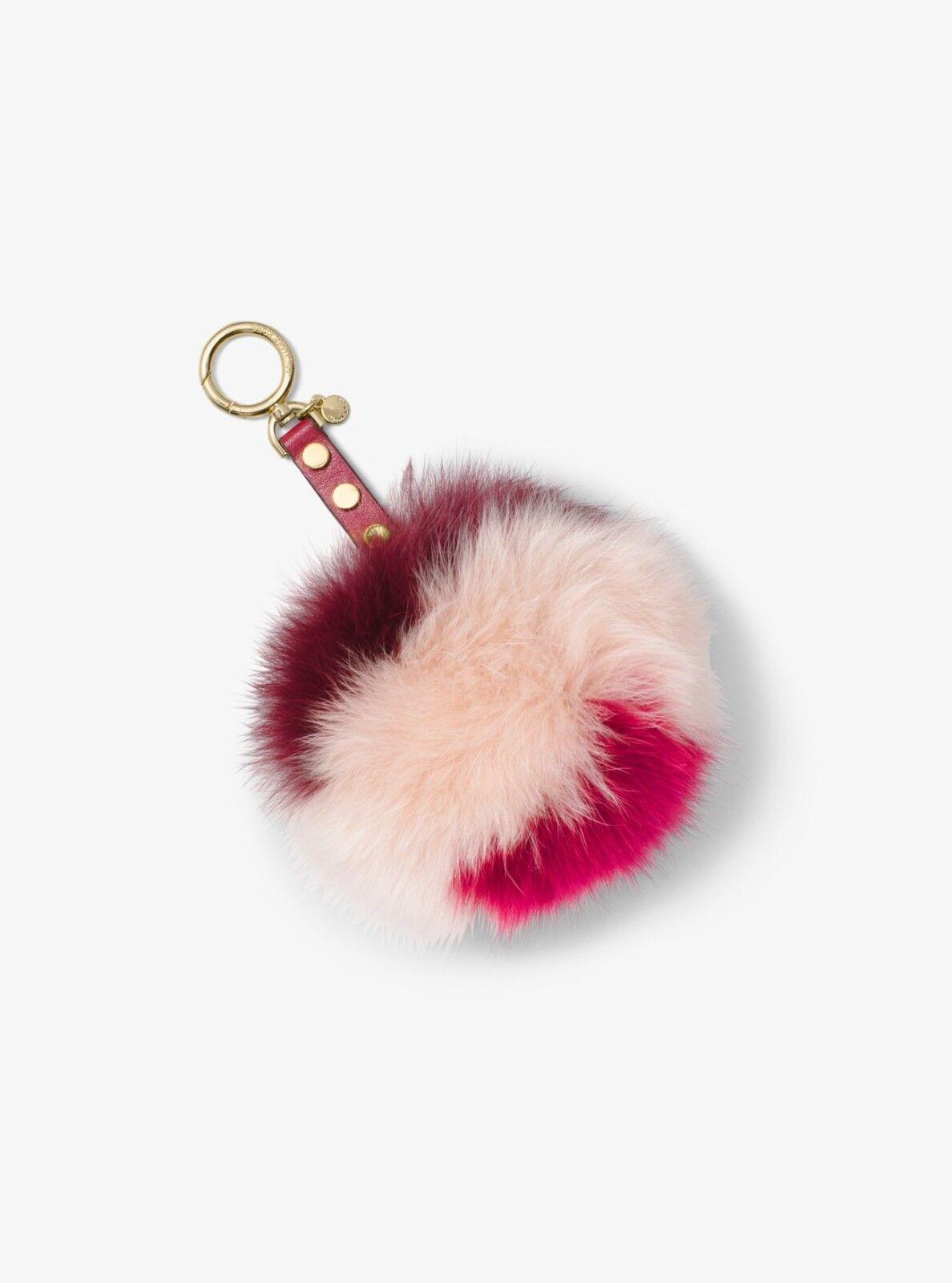4cc7f1cb63 Michael Kors Key Charms Lollipop Large Pom Fur Bag Charm Fob Mulberry  Crimson for sale online