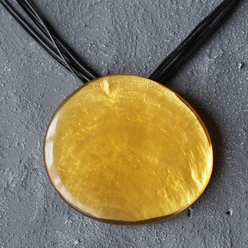 Nuevo 90cm+5cm cordel cadena con Capiz concha en amarillo collar cadena negro