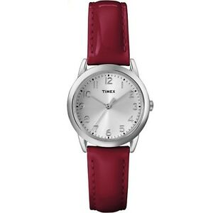 Timex Women's Casual Watch   Red Leather Strap Silver-Tone Dial   T2P085