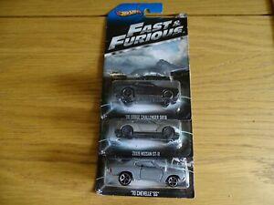 1:64 Hot Wheels Lot De 3 Fast & Furious Chevelle Nissan GT-r Dodge Challenger