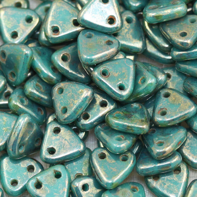 **Pick Your Color**  10grams OF 6mm FANTASTIC CZECHMATES 2 HOLE TRIANGLES BEADS