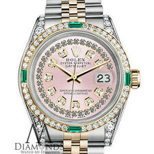 Women's Rolex Steel & Gold 31mm Datejust Watch Pink String Emerald Diamond Dial