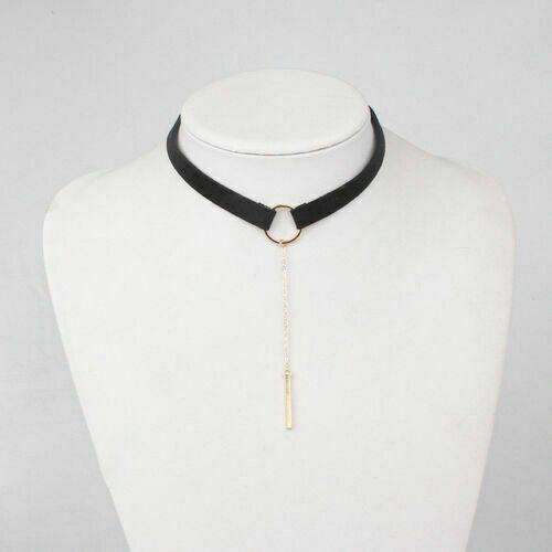 Fashionable Retro Velvet Ribbon Lace Choker Chain Bar Pendant Wome/'s Party Neckl