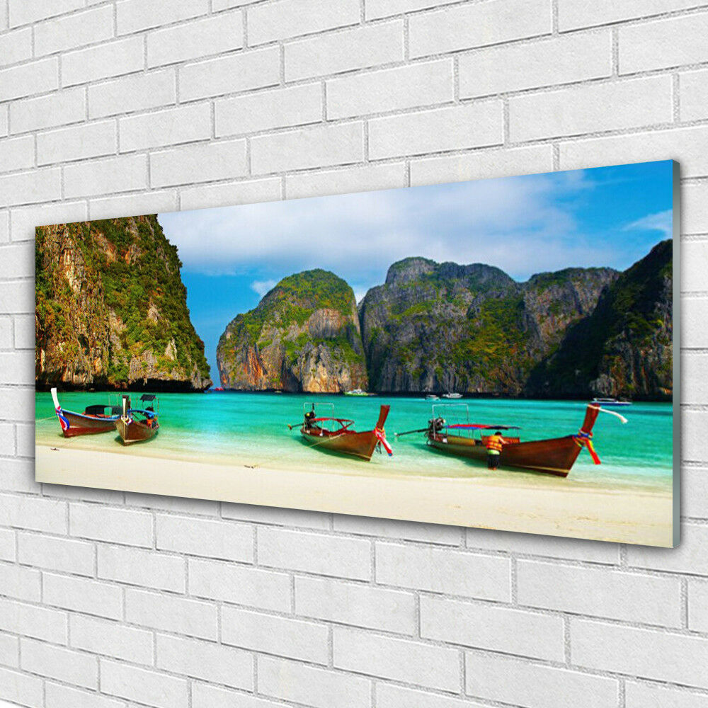 Impression sur verre Image tableaux 125x50 Paysage Plage Mer Montagnes