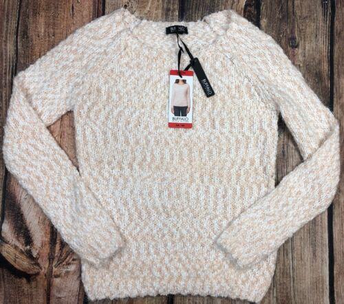 Buffalo David Bitton Apricot White Sweater Pullover Soft Womens Size M