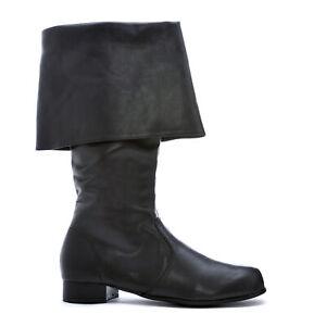 Ellie 121-HOOK Mens Black Captain Pirate Renaissance Buccaneer Costume Knee Boot