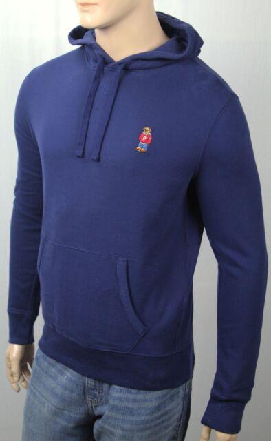 6cc32499d Polo Ralph Lauren Blue Preppy Teddy Bear Hoodie Pullover Sweatshirt NWT