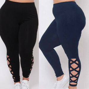 158023b3bd87d Women Plus Size Elastic Leggings Solid Criss-Cross Hollow Out Sport ...