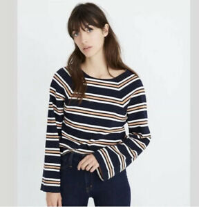 Madewell-Texture-amp-Thread-Metallic-Striped-Knit-Shirt-Size-Small-Navy-Blue-New