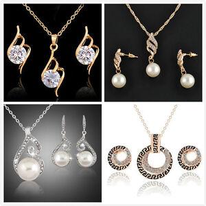 Women-039-s-Wedding-Bridal-Pearl-Jewelry-Set-Rhinestone-Crystal-Necklace-Earrings