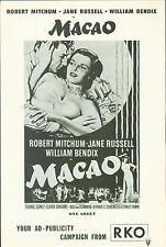 Macao (1952)  Robert Mitchum, Jane Russell, William Bendix film noir pressbook