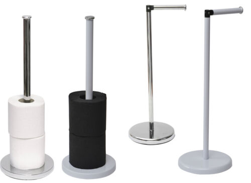 Evideco Bathroom Floor Metal Toilet Tissue Holder Reserve Paper Roll Round Base