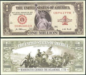 Image Is Loading Liberty Dream Big Million Dollar Bill Fake Funny