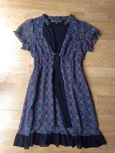 Mela-Loves-London-grey-purple-patterned-tea-dress-Size-S-M-Approx-10-Exc-con