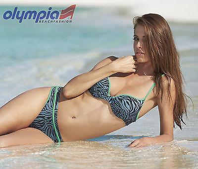 Animalischer Bikini mit Bügel Gr. 38C von OLYMPIA! NEU! Schwarz, Grau, Mint
