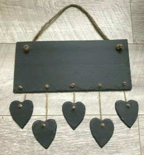handmade slate hanging chalkboard engraving decoration multi drop hearts stars