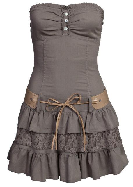 Madonna Bandeau Kleid mit Spitzenansatz Gürtel Artikel Kleid Sonja schlamm braun