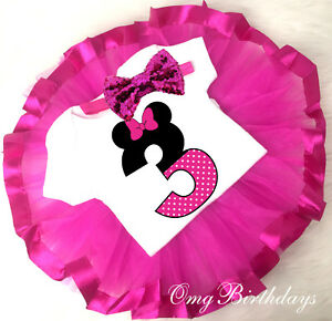 7160b4b4f9aff Details about Minnie Mouse Hot PInk Tutu Shirt Headband 3rd Third Birthday  Outfit