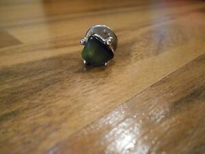 Sarah Coventry Tie Tack Pin Silver Tone Green Gemstone Vintage /& pearl tie tack