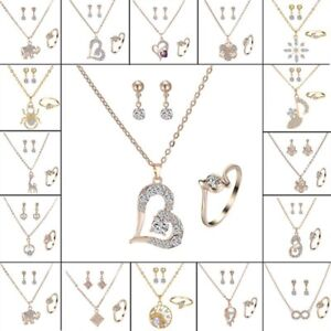 Womens-Crystal-Pearl-Pendant-Necklace-Earrings-Ring-Wedding-Party-Jewelry-Sets