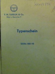 Skoda-1000-MB-1967-Osterr-Typenschein-SAMMLER