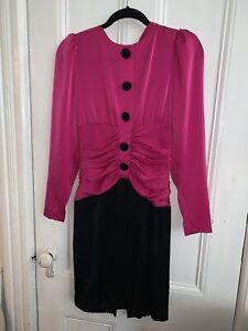 Vintage-Dress-by-Rimini-Black-Fuschia-Sz-6-Union-Made-1980s-80s-Dynasty-Cocktail