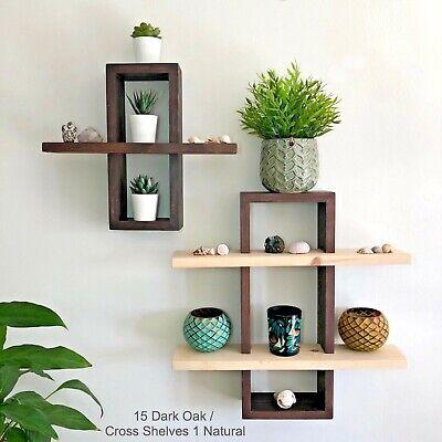 3D Rectangle Floating Shelf, Art Deco Wood Wall Decor with Brackets | eBay
