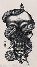Einmal Tattoo Fake Tattoo Skull&Snake 22x12cm Totenkopf&Schlange (A1208)