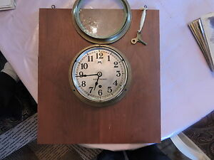 Choice 1940s Mounted Brass Seth Thomas Nautical Clock + Key Ship Boat