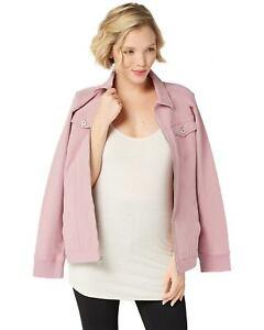 Denim-amp-Co-Womens-Comfy-Knit-Denim-Zip-Front-Jean-Jacket-Large-Rose-A349249