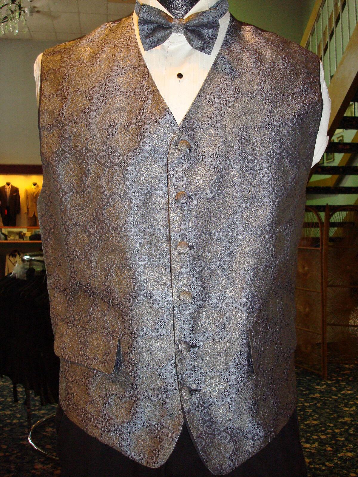 Periwinkle & Gold Paisley Pattern Formal Vest w Bow & Hanky - Fullback - Mens M