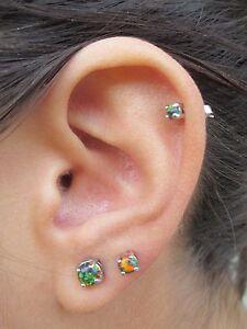 Pair or Single Multi-color Stud Lab Opal Earrings 3mm 4mm 5mm Cartilage Helix