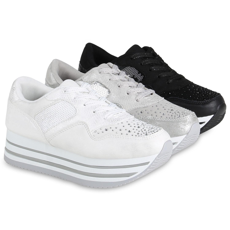 Damen  Plateau Sneaker Lack Sport Zapatos  Damen Strass Freizeit 820540  Zapatos cc6063