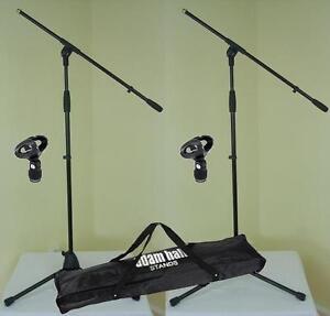 2-St-Mikrofonstaender-ECO-mit-Mikrofonklemme-und-Tasche-ADAM-HALL-Mikrofonstativ