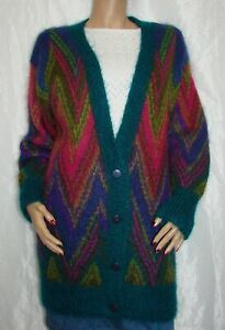 Vintage-Long-Fuzzy-Mohair-Cardigan-Sweater-Size-S-Collections-Michelle-Stuart