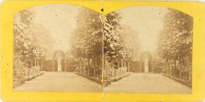 Giardino-Statua-Scultura-Foto-Stereo-DANNEGGIATO-Vintage-Albumina-PL62L5