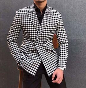 Men Check Plaid Double-breasted Blazer Jacket Formal Suits Peak Lapel Tuxedos