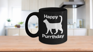 Happy Purrthday Mug Black Coffee Cup Funny Gift Cat Lover Mom Dad Owner Birthday