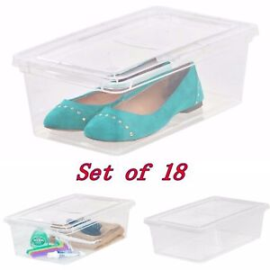 Image is loading 18-shoe-storage-box-organizer-large-sneaker-bin-  sc 1 st  eBay & 18 shoe storage box organizer large sneaker bin closet stackable ...