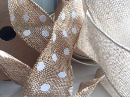 Burlap POLKA DOT OR PLAIN Bouquet,Wedding,Craft,1Mtr Brown// Natural Jute Ribbon