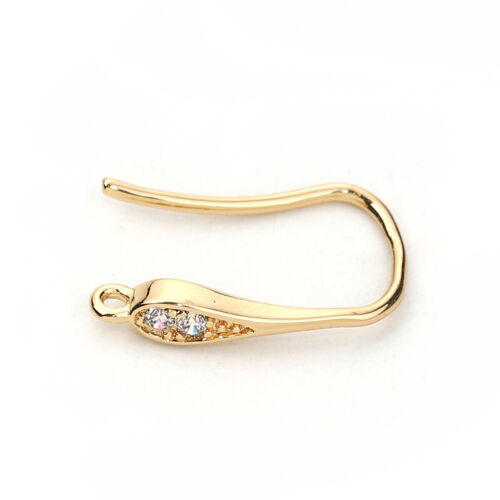"5//8/"" 1pr 1//8/"" Earring Findings Gold Filled W//Loop Clear Rhinestone 17mm x 3mm"